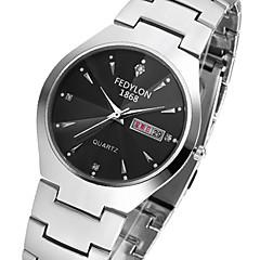 preiswerte Tolle Angebote auf Uhren-Herrn Kleideruhr / Simulierter Diamant Uhr Kalender / Cool Edelstahl Band Freizeit Silber