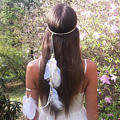 Недорогие Женские украшения-мода богемы перо деревянные бусины женские повязки 1 шт