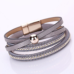 preiswerte Armbänder-Damen Mehrschichtig Ketten- & Glieder-Armbänder / Wickelarmbänder - Leder Modisch, Mehrlagig Armbänder Rosa / Golden / Hellblau Für Alltag / Normal