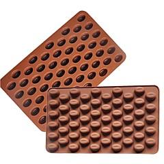 お買い得  ベイキング用品&ガジェット-3Dコーヒー豆55キャビティコーヒー豆の形状チョコレート金型シリコンチョコレート金型