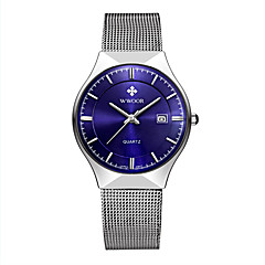 お買い得  大特価腕時計-WWOOR 男性用 カップル用 リストウォッチ クォーツ 30 m 耐水 カレンダー ステンレス バンド ハンズ ぜいたく カジュアル ファッション シルバー - ホワイト ブラック ダークブルー 2年 電池寿命