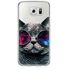 halpa Galaxy S6 Edge kotelot / kuoret-Etui Käyttötarkoitus Samsung Galaxy Samsung Galaxy S7 Edge Ultraohut Läpinäkyvä Takakuori Kissa Pehmeä TPU varten S7 edge S7 S6 edge plus