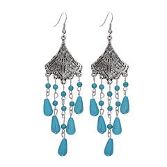 preiswerte Ohrringe-Damen Türkis Quaste Ohrring - versilbert, Türkis Blume Quaste, Retro, Böhmische Blau Für Alltag / Normal