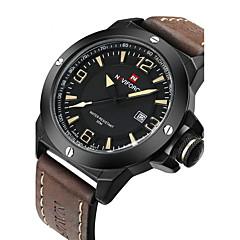NAVIFORCE Heren Polshorloge Militair horloge Modieus horloge Kwarts Japanse quartz Kalender Waterbestendig Leer Band Luxe Cool Zwart Bruin