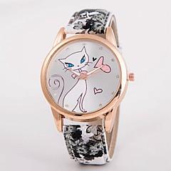voordelige Bekijk deals-Dames Kwarts Gesimuleerd Diamant Horloge / Hot Sale Leer Band Informeel Modieus Meerkleurig