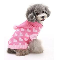 Kat Hond Truien Hoodies Hondenkleding Katoen Winter Schattig Houd Warm Modieus Harten Blauw Roze Voor huisdieren