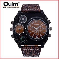 preiswerte Herrenuhren-Oulm Herrn Militäruhr Thermometer / Duale Zeitzonen / Cool Leder Band Luxus Schwarz / Braun / Zwei jahr / SOXEY SR626SW