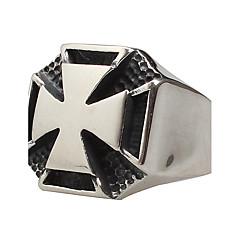 Męskie Duże pierścionki Modny biżuteria kostiumowa Stal tytanowa Cross Shape Biżuteria Na Impreza Codzienny Casual