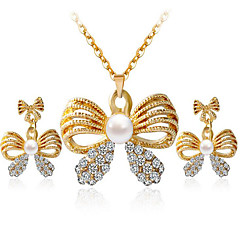abordables Set de Joyas de Perlas-Mujer Conjunto de joyas - Perla, Brillante, Diamante Sintético Lazo Estilo Simple, Moda Incluir Collar / pendientes Dorado / Blanco Para Fiesta Diario Casual / Pendientes / Collare