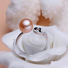 お買い得  指輪-女性用 真珠 クロスオーバー カップルリング バンドリング ステートメントリング  -  真珠, 純銀製 オリジナル, ヴィンテージ, ファッション 調整可 ホワイト / パープル / ピンク 用途 結婚式 パーティー 日常 / カジュアル