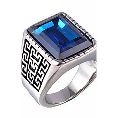 Męskie Duże pierścionki Postarzane Syntetyczne kamienie szlachetne Agat Stal tytanowa Biżuteria Na Impreza Codzienny Casual Prezenty
