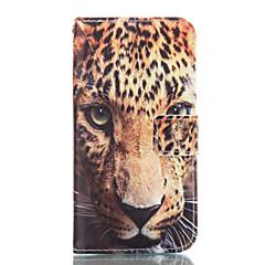 halpa Galaxy A7 kotelot / kuoret-Etui Käyttötarkoitus Samsung Galaxy Samsung Galaxy kotelo Korttikotelo Lomapkko Tuella Suojakuori Leopardikuvio Pehmeä PU-nahka varten
