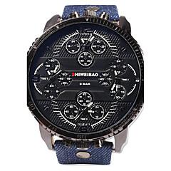 tanie Promocje zegarków-SHI WEI BAO Męskie Wojskowy Kwarcowy Trzy strefy czasowe Skóra Pasmo Na co dzień Niebieski