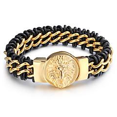 Муж. Кожаные браслеты На заказ Нержавеющая сталь Кожа В форме животных Волк Бижутерия Назначение