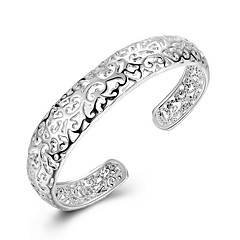 cheap Bracelets-Exquisite Simple Fine S925 Silver Hollow Cuff Bangle Bracelet for Wedding Party Women Christmas Gifts
