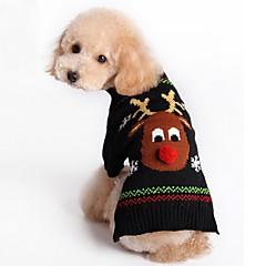 お買い得  猫の服-ネコ 犬 セーター クリスマス 犬用ウェア トナカイ ブラック レッド アクリル繊維 コスチューム ペット用 男性用 女性用 新年 クリスマス