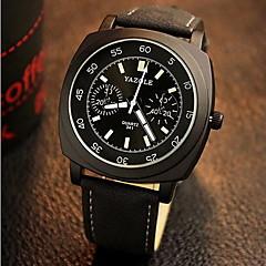 preiswerte Tolle Angebote auf Uhren-YAZOLE Herrn Modeuhr Nachts leuchtend / Armbanduhren für den Alltag Leder Band Schwarz / Braun