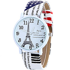 cheap Watch Deals-Women's Quartz Wrist Watch / Casual Watch Leather Band Casual Eiffel Tower Fashion Cool White Blue Brown Rose