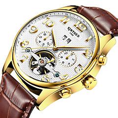 お買い得  メンズ腕時計-男性用 ドレスウォッチ スケルトン腕時計 リストウォッチ 自動巻き 30 m 耐水 カレンダー クロノグラフ付き レザー バンド ハンズ カジュアル ブラウン - ホワイト ブラック