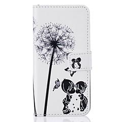 Недорогие Кейсы для iPhone 6 Plus-Кейс для Назначение Apple Кейс для iPhone 5 iPhone 6 iPhone 7 Бумажник для карт Кошелек со стендом Флип Рельефный Чехол одуванчик Твердый