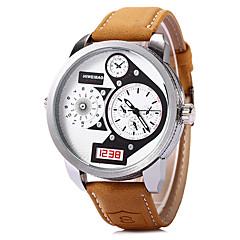 お買い得  大特価腕時計-SHI WEI BAO 男性用 ファッションウォッチ / 軍用腕時計 / リストウォッチ 2タイムゾーン / クール レザー バンド カーキ