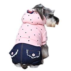Χαμηλού Κόστους Ρούχα και αξεσουάρ για σκύλους-Σκύλος Φούτερ με Κουκούλα Φόρμες Ρούχα για σκύλους Καθημερινά Μοντέρνα Πουά Βυσσινί Πράσινο Ροζ Στολές Για κατοικίδια