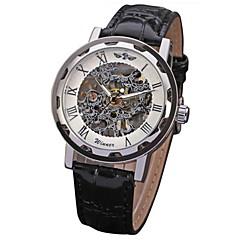 preiswerte Tolle Angebote auf Uhren-WINNER Herrn Totenkopfuhr / Armbanduhr / Mechanische Uhr Transparentes Ziffernblatt / Cool PU Band Schwarz / Mechanischer Handaufzug