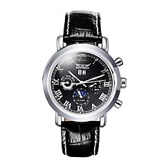 preiswerte Tolle Angebote auf Uhren-Herrn Armbanduhr Mechanische Uhr Automatikaufzug Kalender Leder Band Analog Luxus Schwarz - Weiß Schwarz / Edelstahl