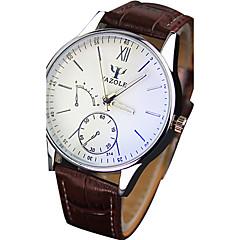 お買い得  大特価腕時計-YAZOLE 男性用 リストウォッチ クォーツ ホット販売 クール / PU バンド ハンズ カジュアル ブラック / ブラウン - ブラック Brown