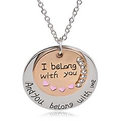 Недорогие Ожерелья-Муж. Жен. Круглый Геометрической формы На каждый день Мода европейский Ожерелья с подвесками Стразы Серебрянное покрытие Позолота Сплав