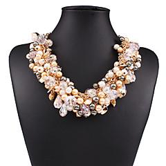 preiswerte Halsketten-Damen Kristall Anhängerketten / Statement Ketten - Krystall, Künstliche Perle Europäisch, Modisch Weiß, Schwarz, Regenbogen Modische Halsketten Schmuck Für Hochzeit, Party, Alltag
