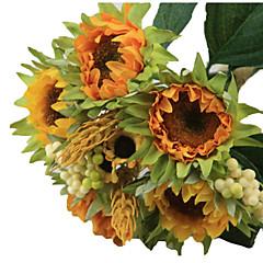 1 bouquet/Set 5 şube İpek / Plastik Ayçiçekleri Masaüstü Çiçeği Yapay Çiçekler 3.3 inch X 10 inch