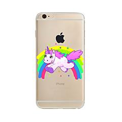 Недорогие Кейсы для iPhone 7 Plus-Кейс для Назначение Apple iPhone X / iPhone 8 Plus / iPhone 7 Полупрозрачный / С узором Кейс на заднюю панель единорогом Мягкий ТПУ для iPhone X / iPhone 8 Pluss / iPhone 8