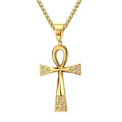 Недорогие Ожерелья-Муж. Ожерелья с подвесками Стразы Крестообразной формы Нержавеющая сталь Стразы Позолота Искусственный бриллиант По заказу покупателя