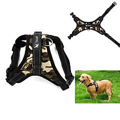 お買い得  犬用首輪/リード/ハーネス-犬 ハーネス 調整可能 / 引き込み式 ベスト レオパード カモフラージュ ファブリック ブラック レッド 迷彩色 ヒョウ柄