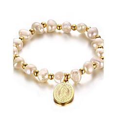 Женский Strand Браслеты Жемчуг Позолота 18K золото Мода обожаемый Двойной Pearl Геометрической формы Золотой Бижутерия 1шт