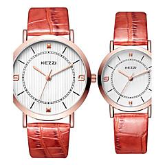 preiswerte Armbanduhren für Paare-KEZZI Paar Armbanduhr Quartz Schlussverkauf Cool / Leder Band Analog Freizeit Modisch Schwarz / Weiß / Silber - Weiß Schwarz Kaffee