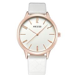 preiswerte Armbanduhren für Paare-KEZZI Paar Armbanduhr Quartz Armbanduhren für den Alltag Cool Leder Band Analog Freizeit Modisch Schwarz / Weiß / Braun - Weiß Schwarz Braun