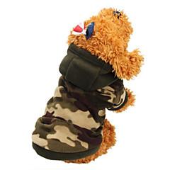 Χαμηλού Κόστους Ρούχα και αξεσουάρ για σκύλους-Γάτα Σκύλος Παλτά Φούτερ με Κουκούλα Ρούχα για σκύλους Διατηρείτε Ζεστό Μοντέρνα καμουφλάζ Χρώμα Παραλλαγής Λεοπαρδαλί Στολές Για