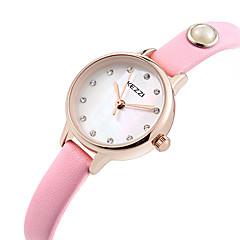 お買い得  大特価腕時計-KEZZI 女性用 リストウォッチ ホット販売 / クール / / 本革 バンド カジュアル / ファッション ブラック / 白 / ブルー