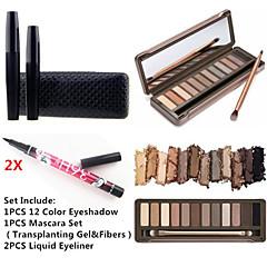 12 kleuren oogschaduw waterproof wimpers mascara set&2x waterproof vloeibare eyeliner
