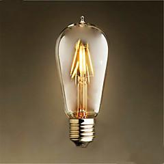 4W E26/E27 Lampadine LED a incandescenza ST58 4 LED COB Decorativo Bianco caldo 300-350lm 2300K AC 220-240V
