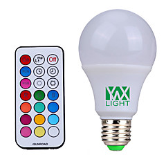 E26/E27 LED Globe Bulbs 12 SMD 600-800 lm Natural White RGB K Dimmable Remote-Controlled Decorative AC85-265 V