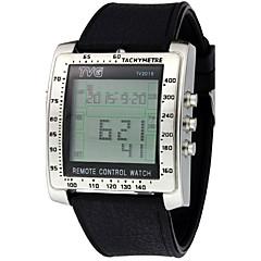 Męskie Sportowy Wojskowy Modny Zegarek na nadgarstek Zegarek cyfrowy Cyfrowe LED Pilot Kalendarz Wodoszczelny Srebrzysty Guma Pasmo