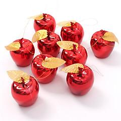 9pce 파티 이벤트 과일 펜던트 크리스마스 매달려 장식 빨간색 황금 사과 크리스마스 트리 장식