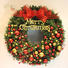 홈 파티 직경 40cm를위한 크리스마스 화 환 2 색 소나무 바늘 크리스마스 장식 새 해 공급 NAVIDAD
