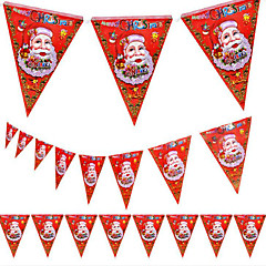 voordelige -5pcs kerst wimpel kerstversiering mall store design van de Kerstman 8 gezicht vlag
