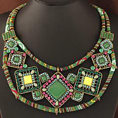 お買い得  ネックレス-女性用 カラー  -  幾何学図形 ボヘミアンスタイル 欧風 オレンジ グリーン ネックレス 用途 パーティー 日常