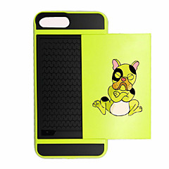 For iPhone 7 Plus Card Holder  Shockproof Case Back Cover Case Cartoon Bulldogs Hard PC for iPhone 7 Plus  7  6s  6 Plus SE 5S 5