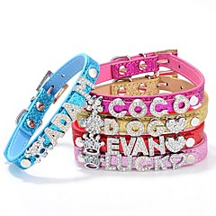Dog Collar Adjustable / Retractable Studded Characters Rhinestone PU Leather Gold Rose Red Blue Pink